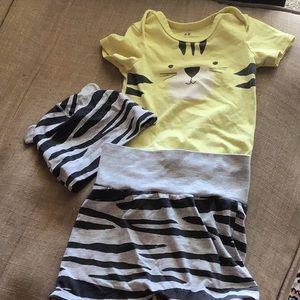 H&M lion onnies zebra striped pant &cap
